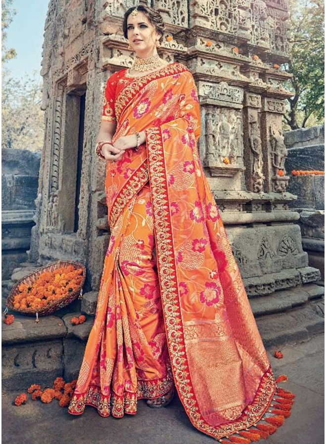 Orange Tomato Red Lace Border Work Pure Silk Flower Print Wedding Wear Saree