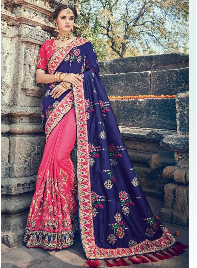 Navy Blue Hot Pink Half N Half Printed Pure Silk Designer Wedding Saree