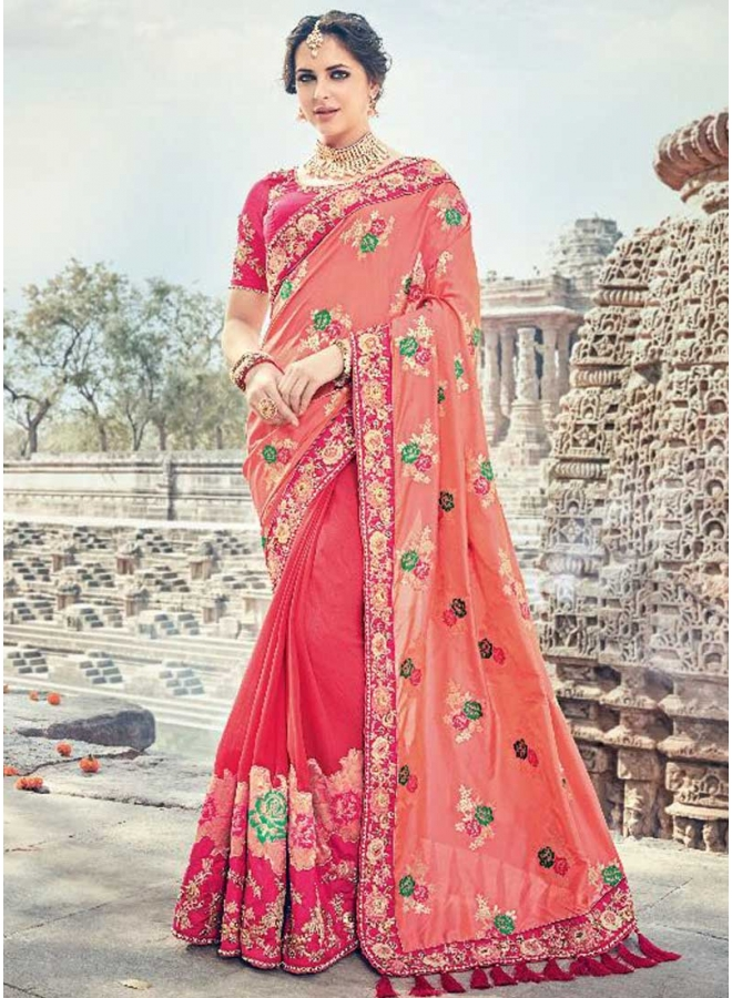 Red Orange Half N Half Flower Printed With Embroidery Lace Border Designer Wedding Saree