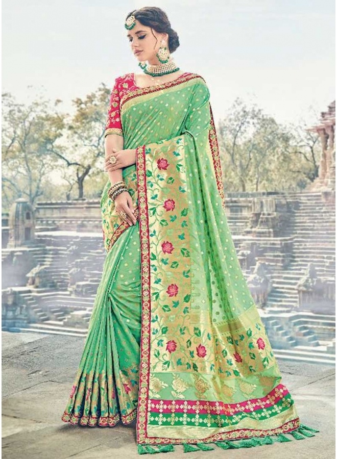Parrot Red Flower Printed With Embroidery Lace Border Designer Saree