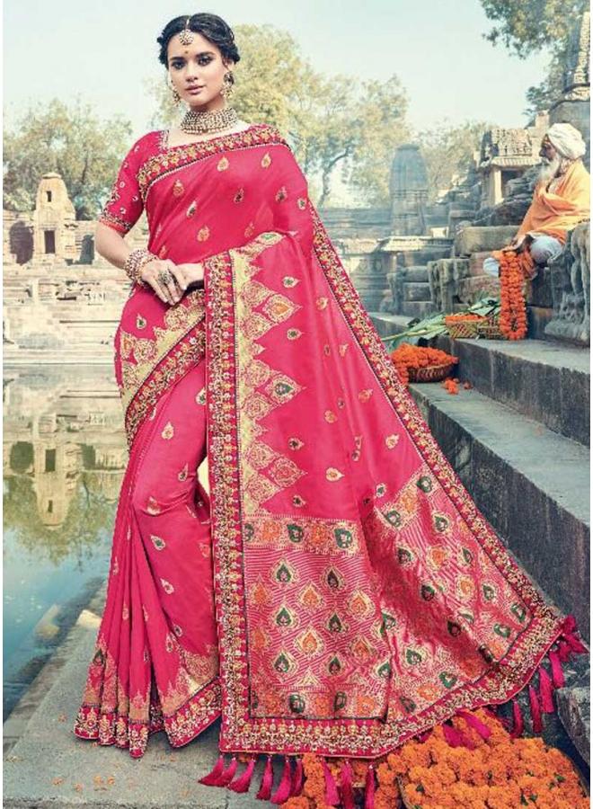 Dark Red Pure silk Jacquard Embroidery Lace Border Designer Heavy Saree