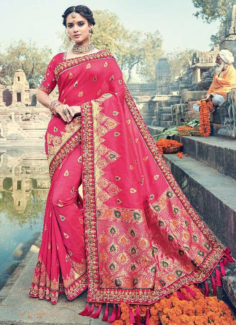 671fcc0e7429ac Dark Red Pure silk Jacquard Embroidery Lace Border Designer Heavy Saree