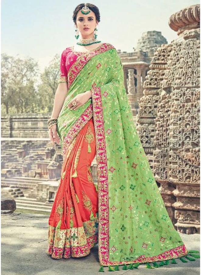 Orange Parrot Half N Half Embroidery Work Designer Wedding Saree