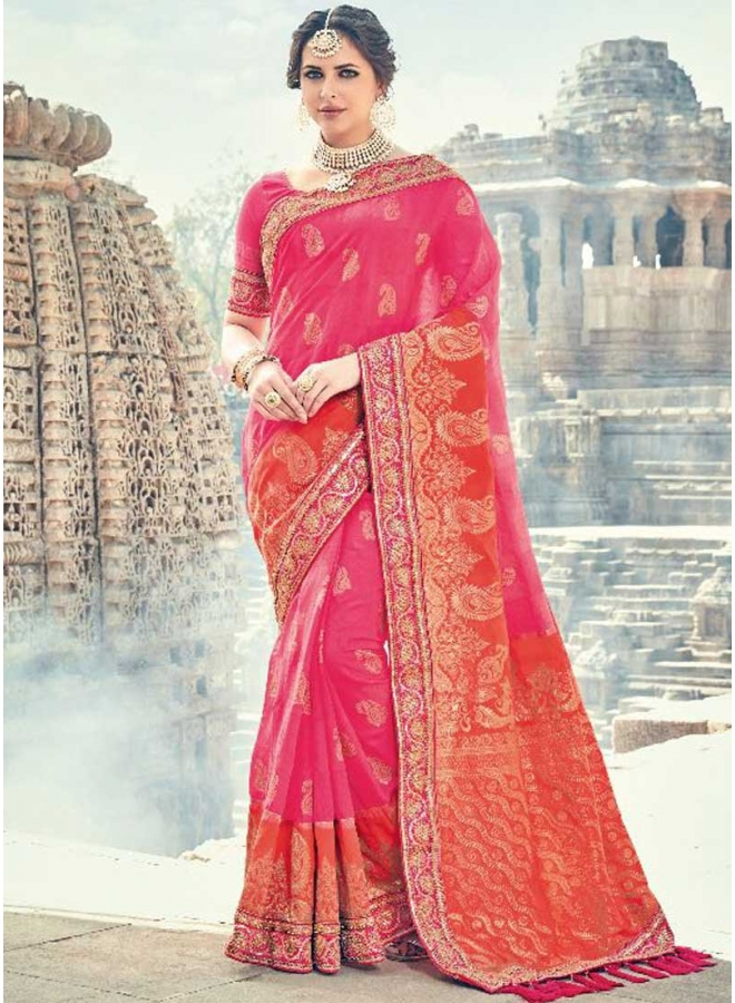 Hot Pink Embroidery Work Lace Border Pure Silk Designer Function Wear Saree