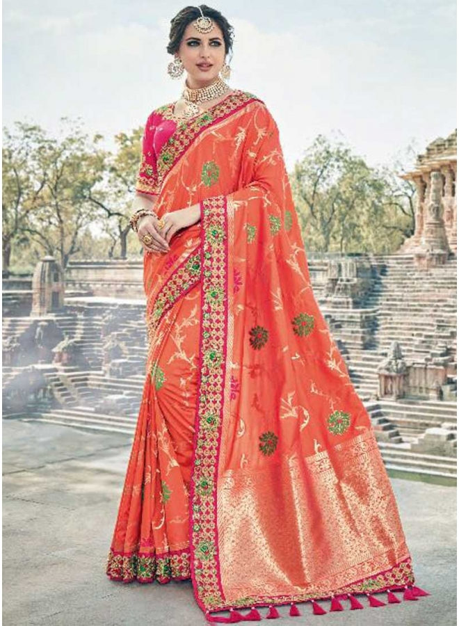 Orange Red Flower Print Embroidery Work Lace Border Designer Saree
