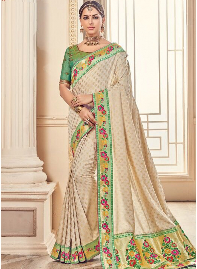 Beige Embroidery Thread Work Lace Border Georgette Designer Saree