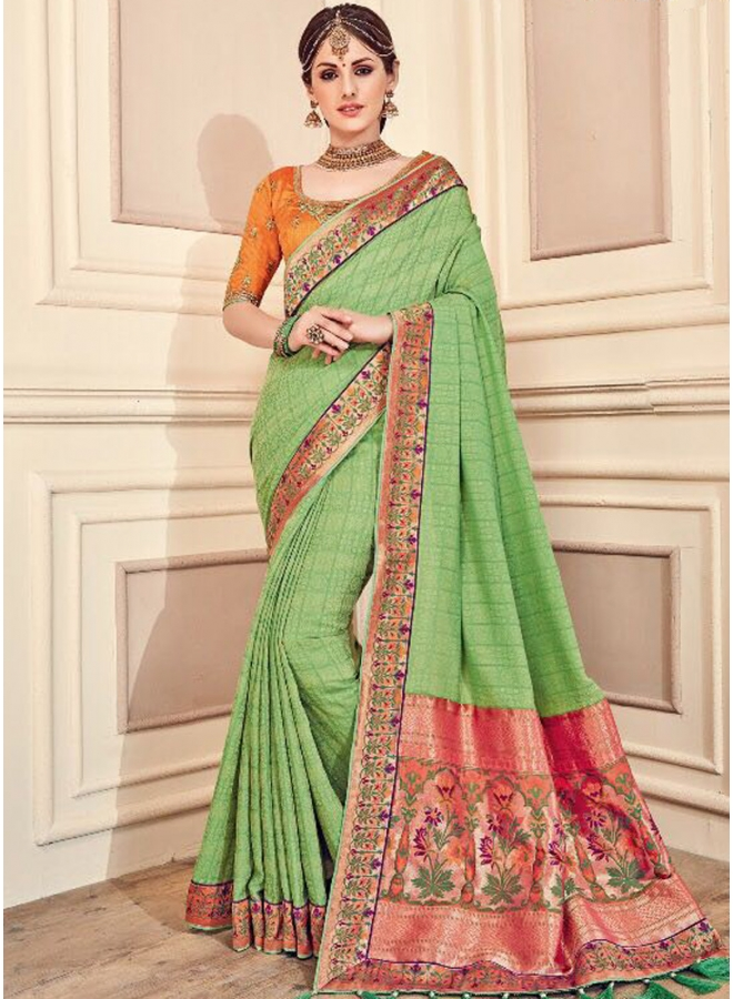 Green Embroidery Heavy Thread Work Fancy Fabric Designer Saree