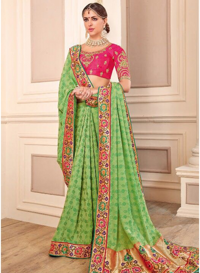 Green Embroidery Sequins Work Georgette Wedding Wear Designer Saree