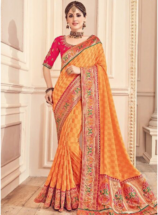 Mustard Embroidery Thread Lace Border Work Designer Party Wear Saree
