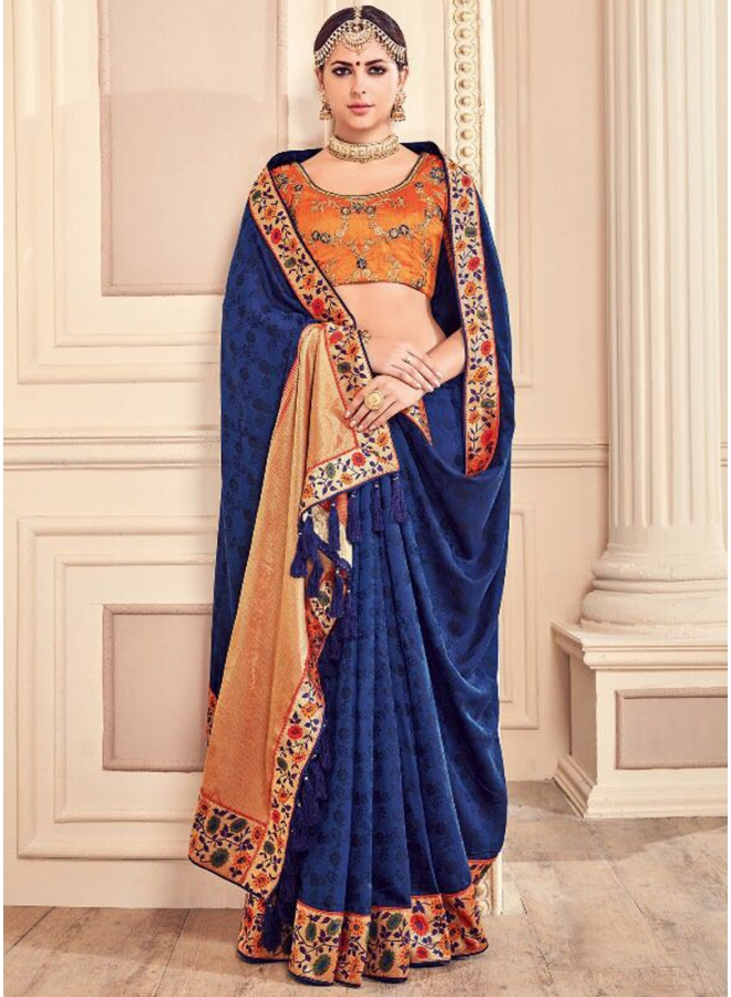 Navy Blue Embroidery Thread Work Lace Border Georgette Party Wear Wedding Saree