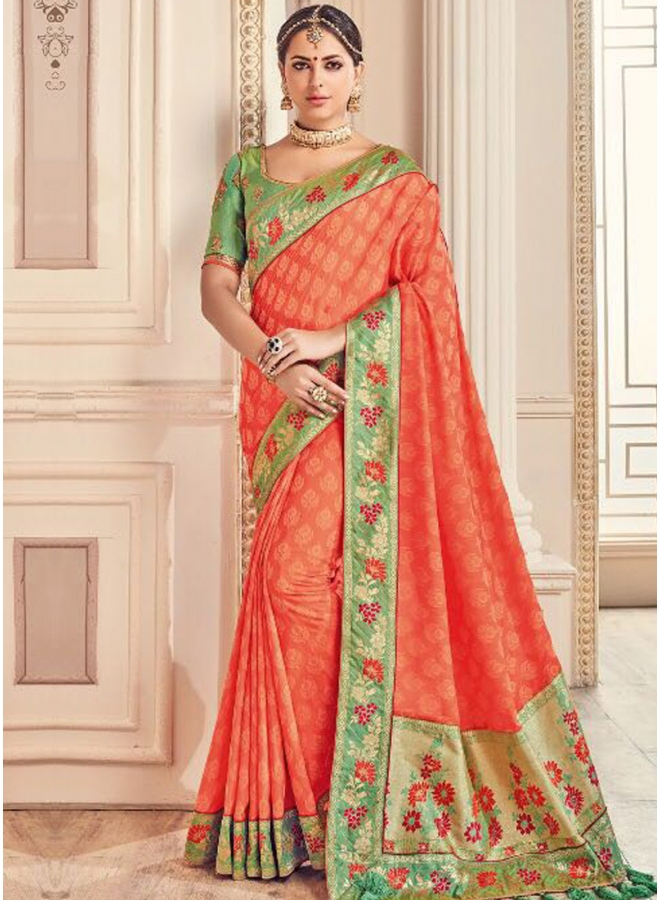 Orange Embroidery Thread Work Lace Border Jacquard Designer Saree