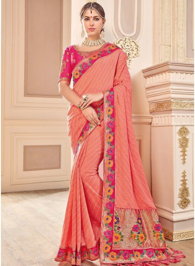Peach Heavy Embroidery Thread Work Party Wear Georgette Saree