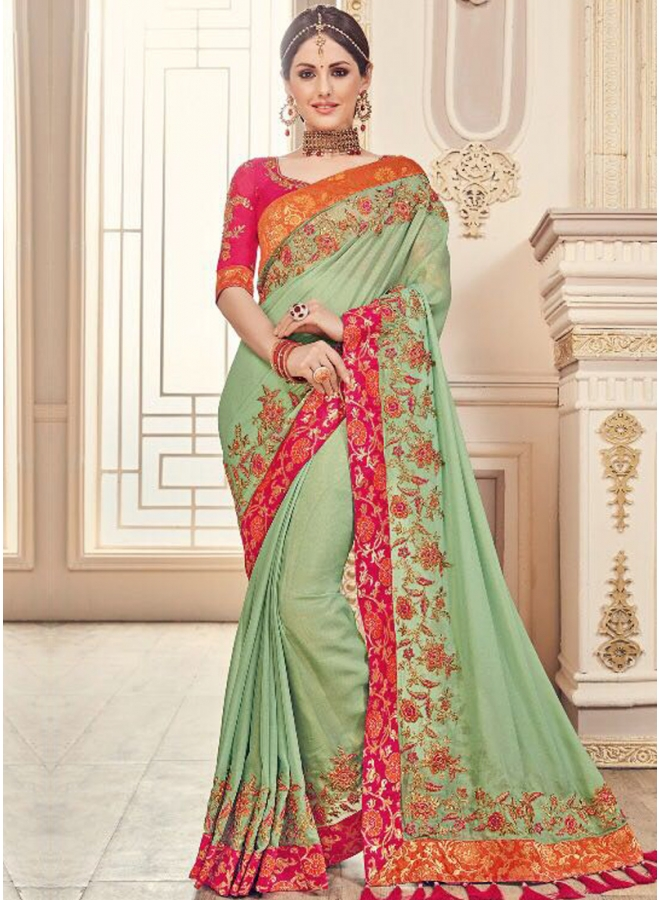 Sea Green Embroidery Lace Border Work Georgette Wedding Wear Saree