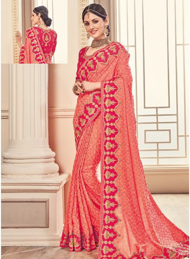 Tomato Red Embroidery CutDana Sequins Work Jacquard Party Wear Saree