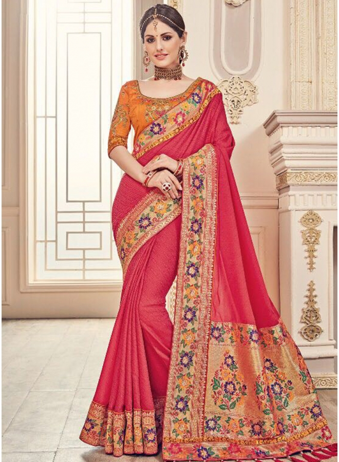 Tomato Red Embroidery Lace Border Sequin Work Georgette Wedding Sarees
