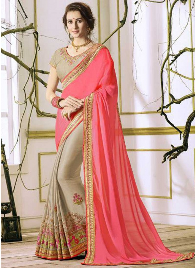 Pink Off White Half N Half Rangoli Georgette Embroidery Work Designer Saree