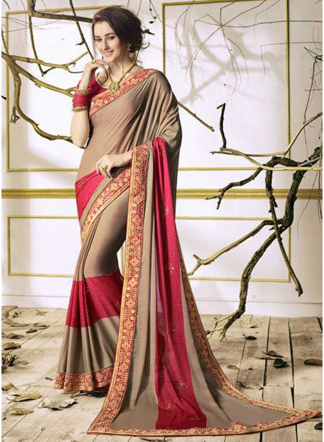 Grey Dark Pink Embroidery Thread Work Designer Party wear Saree