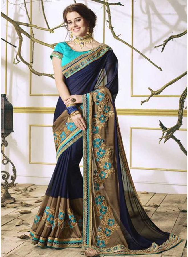Navy Blue Turquoise  Embroidery Thread Work Designer Saree