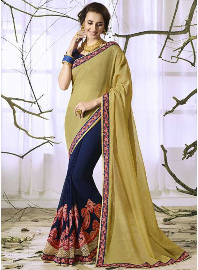 Gold Navy Blue Half N Half Embroidery Thread Work Designer Saree
