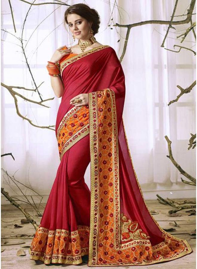 Dark Red Orange Embroidery Thread Work Designer Party Wear Saree