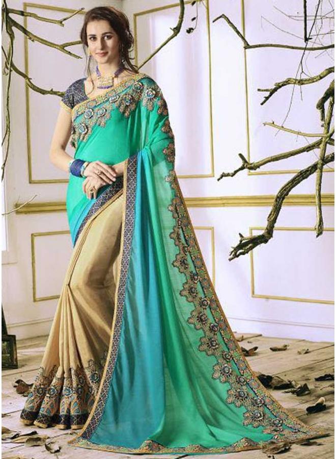 Turquoise Cream Half N Half Embroidery Thread Work Rangoli Georgette Designer Saree