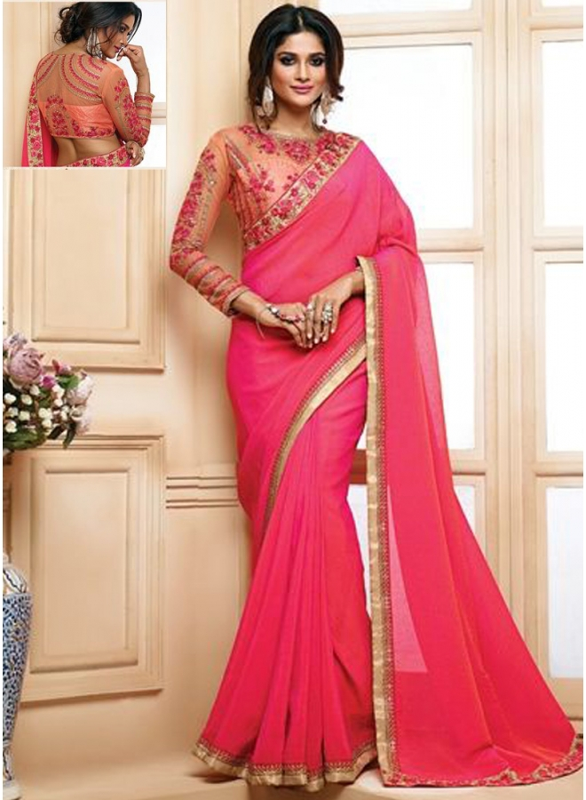 Georgette Hot Pink  2 Tone Colour With Embroidery Sequnes Work Designer Party Wear Saree