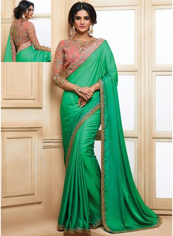 Shaded 2 Tone Satin Fabric Saree With Embroidery Work Border N Bolus With Stone Work