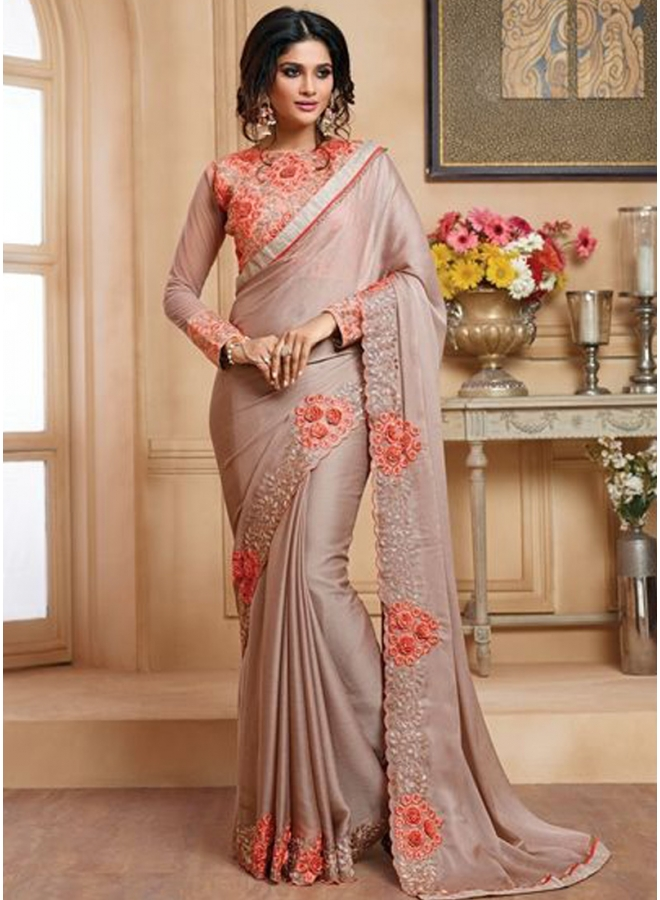 Beautiful Embroidery Work Lace Border Chiffon Fabric Designer function Wear Saree