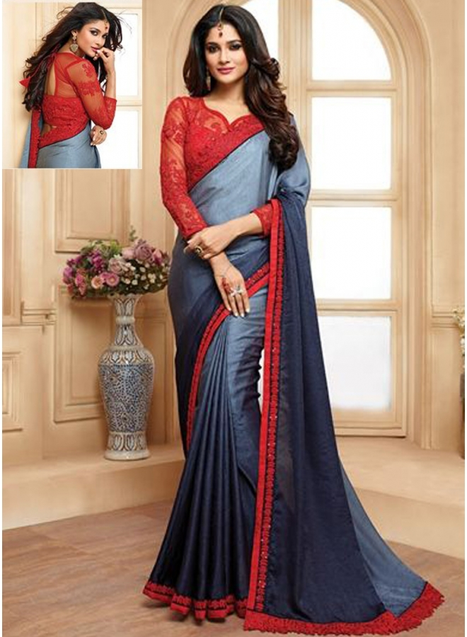 Dark Grey Shaded Embroidery Work Georgette Fabric Designer Party Wear Saree