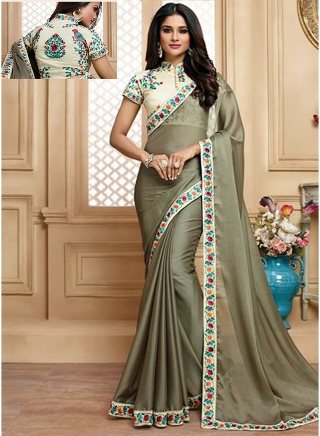 Beautiful Grey Colour Embroidery Work Lace Border Chiffon Designer Party Wear Saree