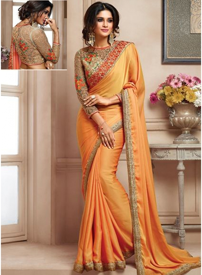 Mustard Colour Embroidery Work Lace Border Designer Function Wear Saree