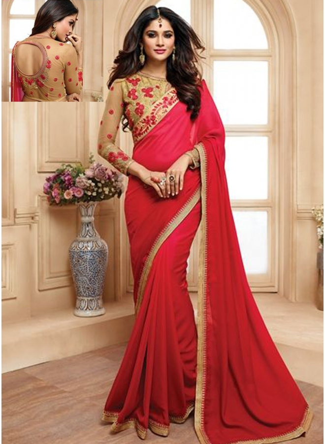 Red Colour Embroidery Work Lace Border Satin Designer Function Wear Saree