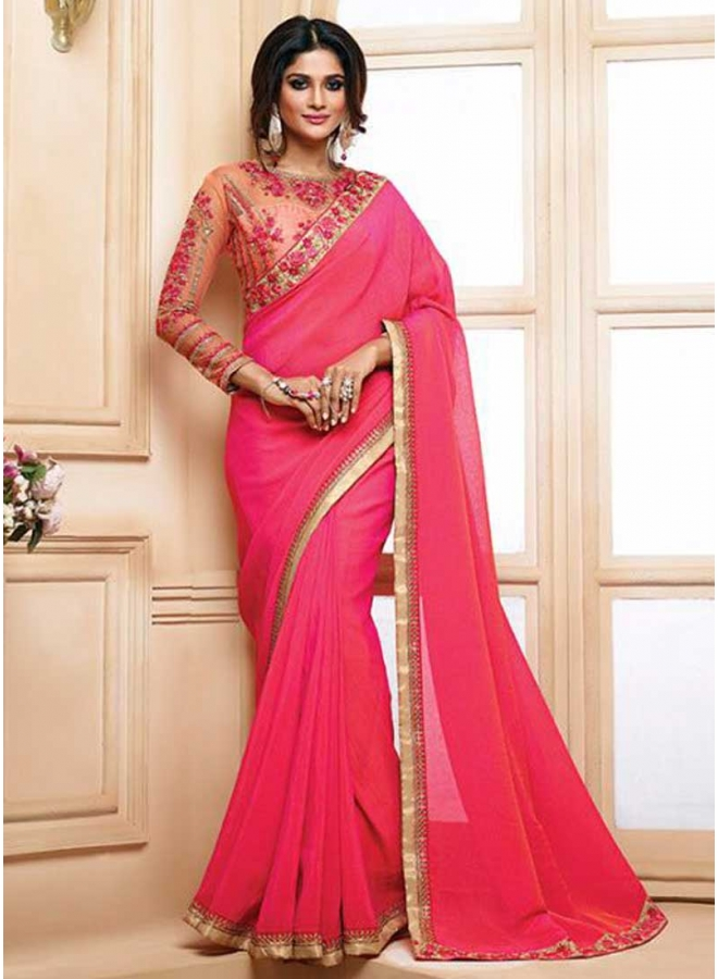 Tomato Red Embroidery Work Lace Border Designer Function Look Saree