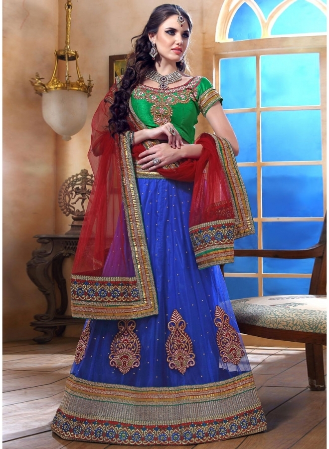 Royal Blue With Net Petch Bordered Work Lehenga Choli