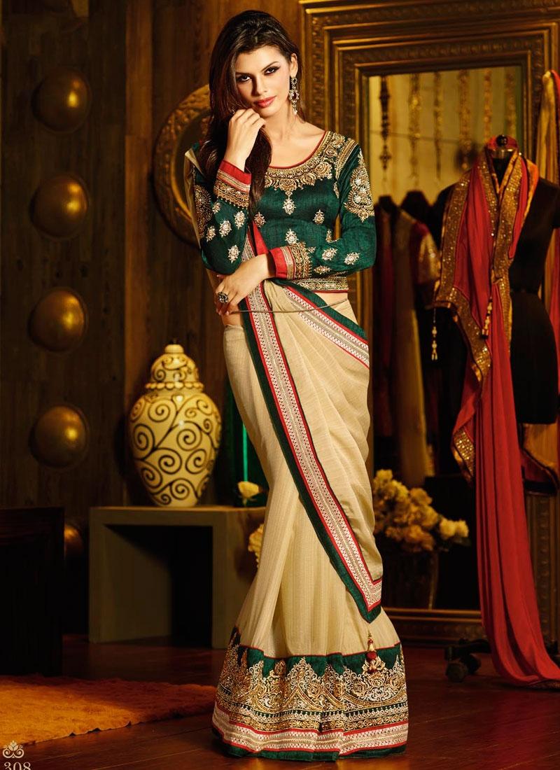 36516f6da4 Cream Color Chiffon Designer Reception Wear Saree