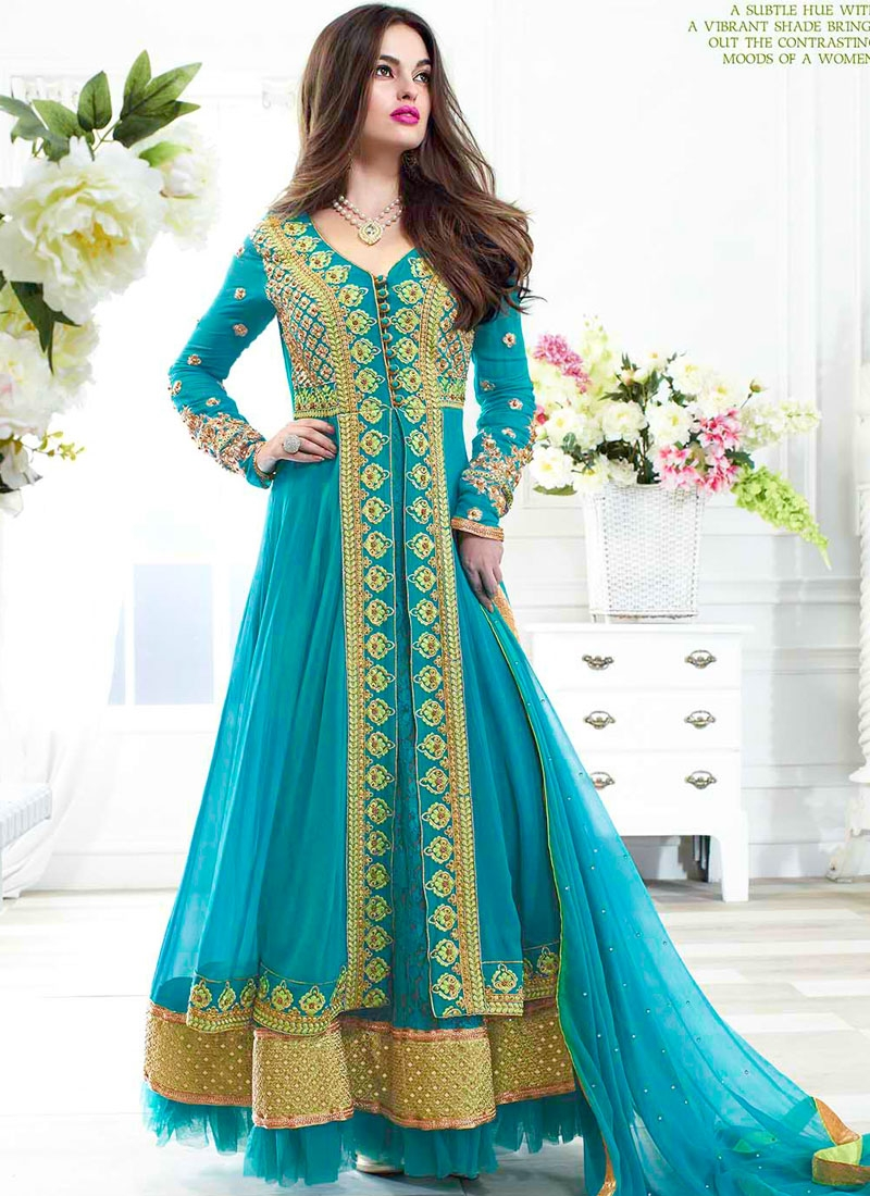 Fentastic Teal Net Designer Wedding Long Anarkali Suit