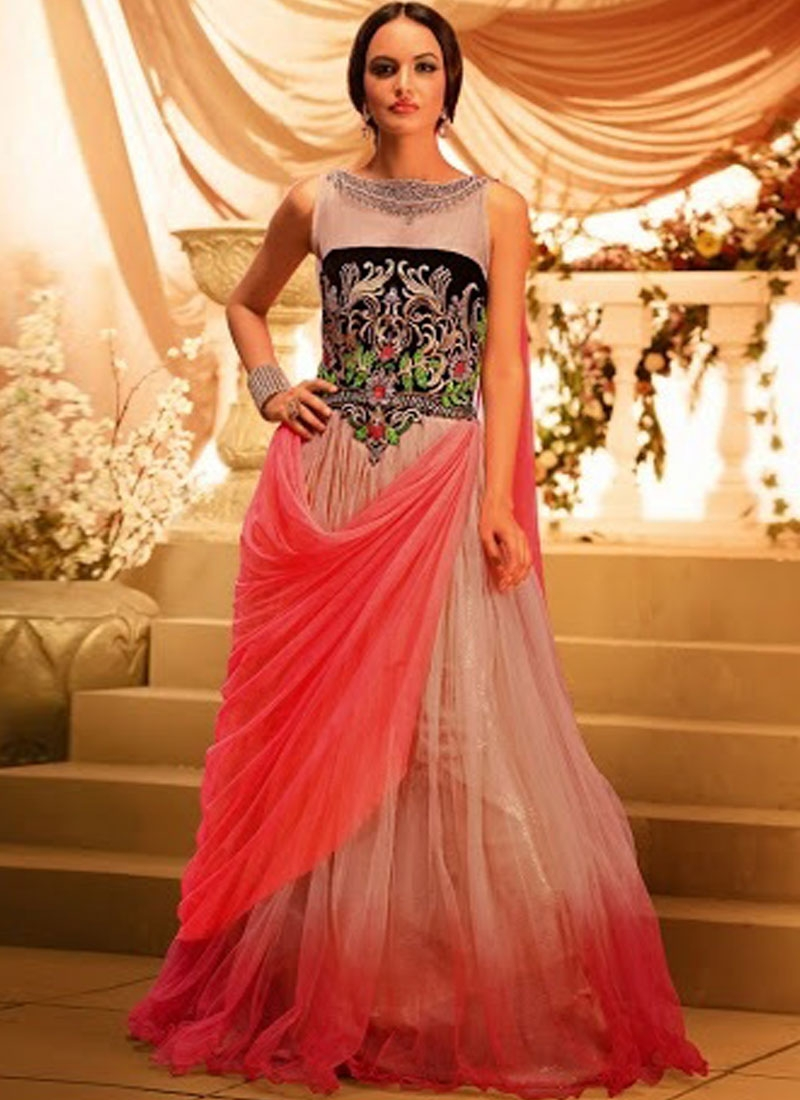479d49403f2 Red N Peach Net Fancy Designer Party Wear Gown