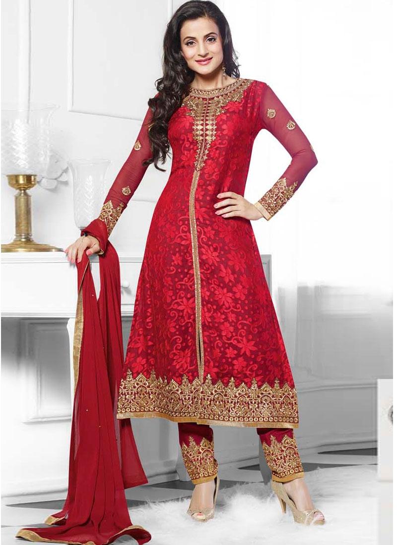 Amisha Patel In Hot Red Designer Wedding Churidar Suit
