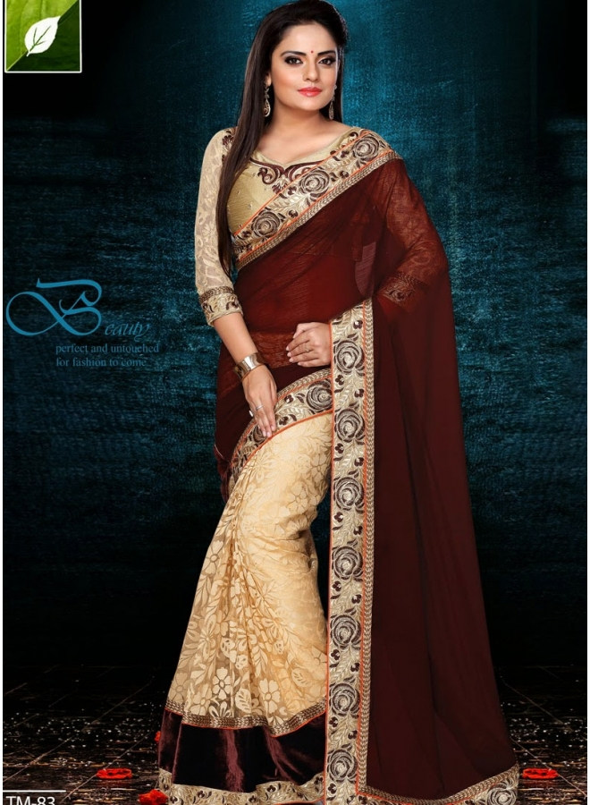 Brown With Cream Brasso Net Work Casual Saree