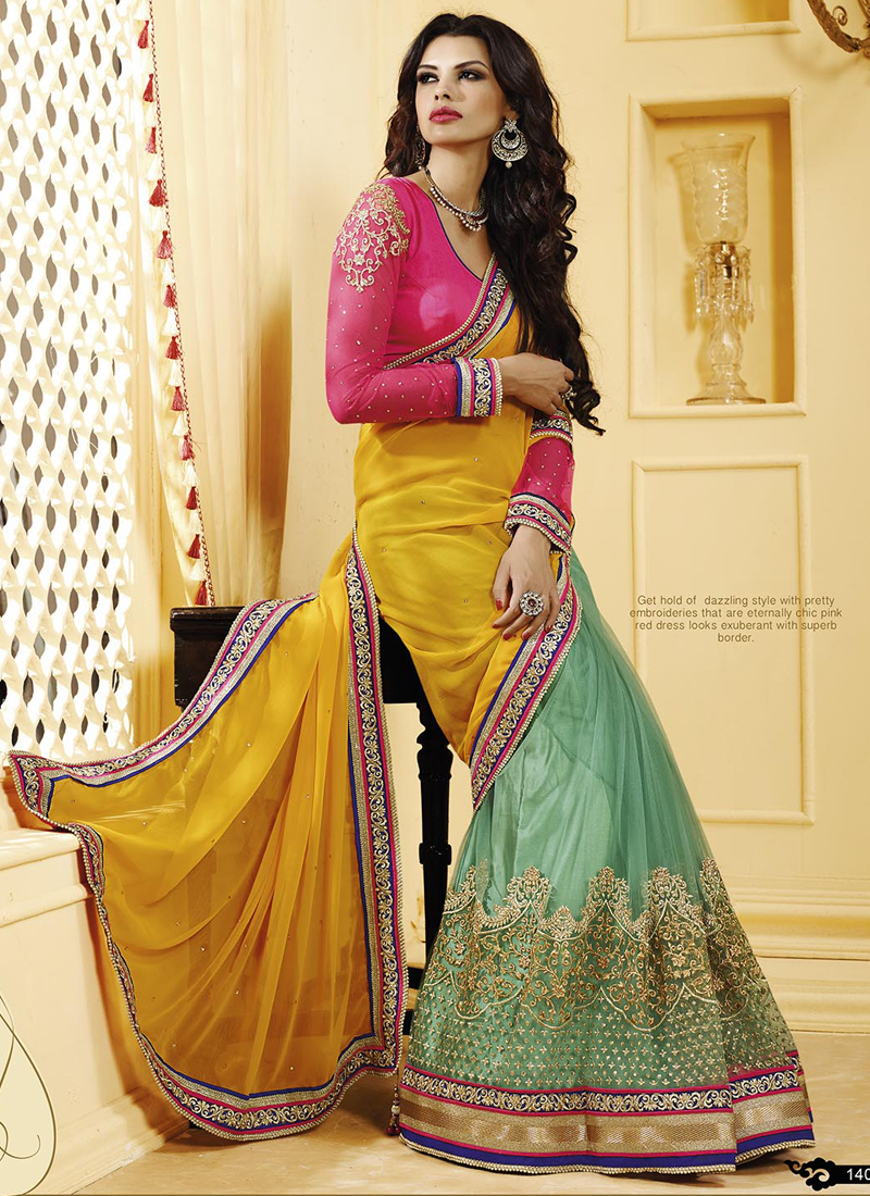 golden and teal net with georgette latest designer wedding saree