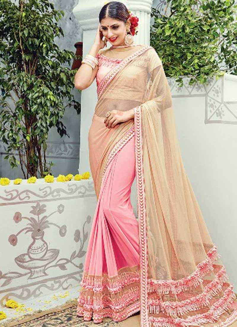 Beige pink embroidery work net designer imported wedding