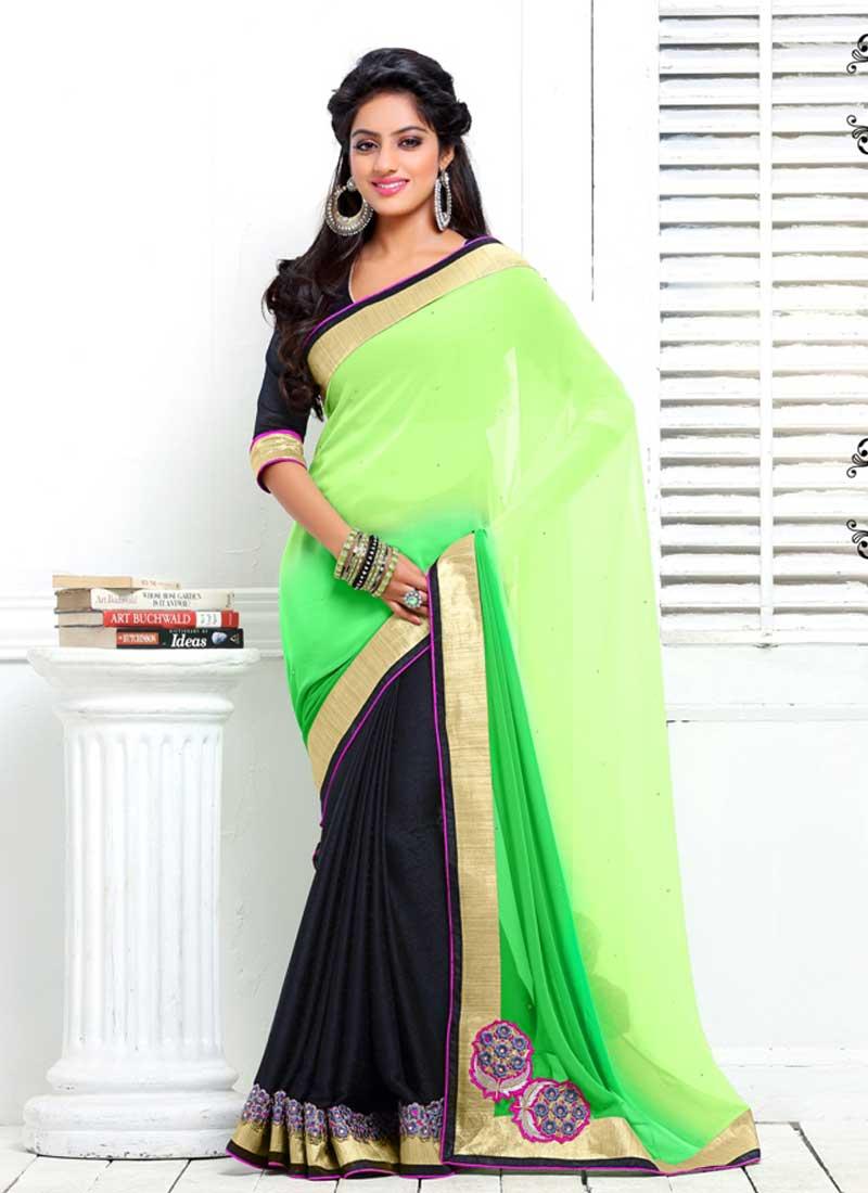 Deepika Singh Lemon Green And Black Georgette With Work ...