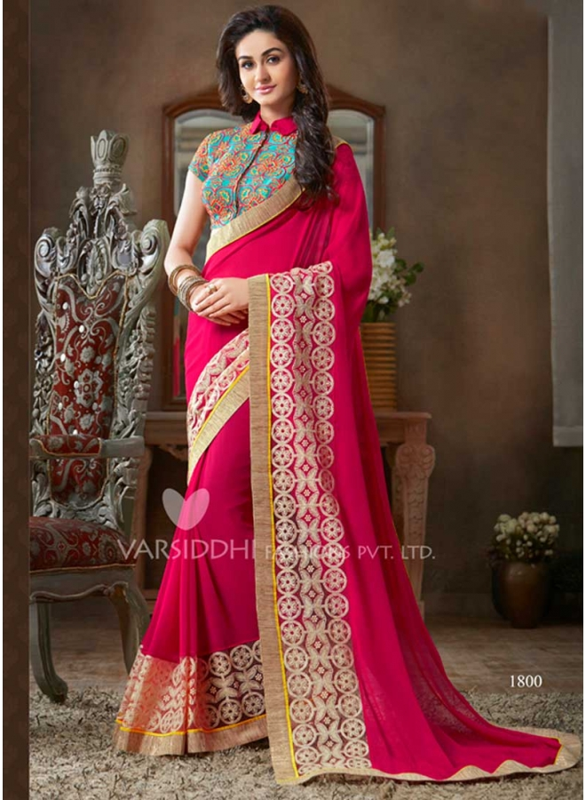 Magenta pure georgette with embroidery work border party for Wedding party dresses in sri lanka